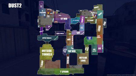 Название мест на карте dust2 на английском